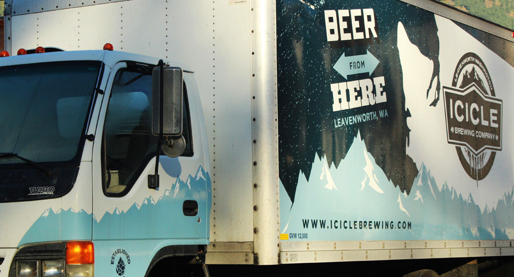 Icicle Brewing Company box truck wrap